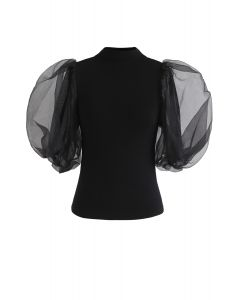 Fitted Organza Bubble Sleeves Knit Top in Black