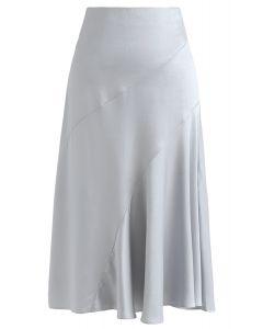 Frill Hem Midi Skirt in Dusty Blue