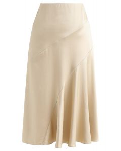 Frill Hem Midi Skirt in Gold