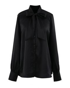 Bowknot Tie Neck Button Down Shirt in Black
