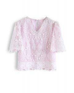 V-Neck Crochet Mesh Cropped Top in Light Pink