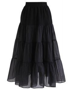Lightweight Organza Midi Skirt in Black