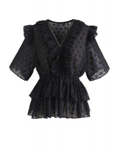 Ruffle Eyelet Embroidery Tiered Peplum Top in Black