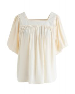 Square Neck Puff Sleeves Top in Cream