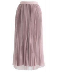 Reversible Pleated Midi Skirt in Pink