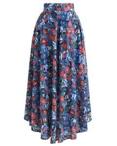 Flower Painting Printed Asymmetric Skirt