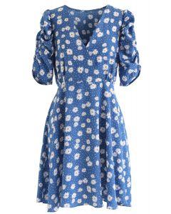 Full-Blown Daisy Print Wrapped Midi Dress in Blue