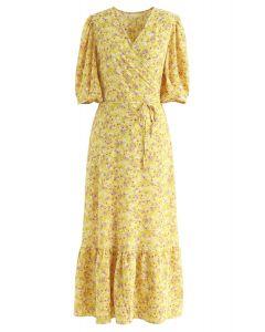 Allured Floret Wrapped Dress in Mustard