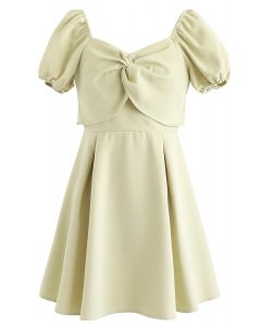 Knot Front Sweetheart Neck Pleated Dress in Light Yellow