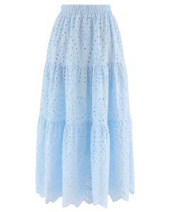 Frill Hem Broderie Cotton Midi Skirt in Baby Blue
