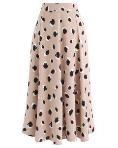 Bicolor Irregular Spots Print Midi Skirt in Tan