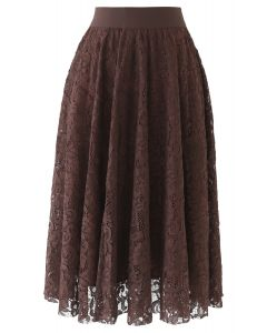 Full Floral Lace Midi Skirt in Brown