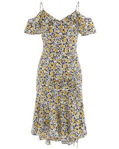 Cold-Shoulder Drawstring Yellow Posy Ruffle Dress