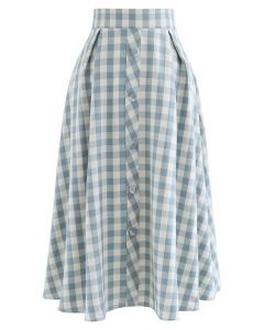 Buttoned Front Check Print A-Line Midi Skirt in Pea Green