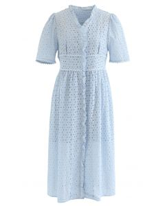 Ruffle Embroidered Button Down Eyelet Dress in Blue