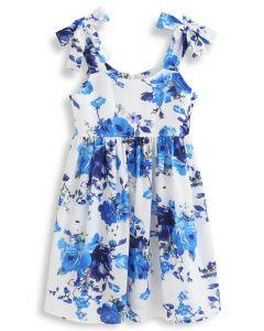 Floral Print Tie Shoulder Midi Dress for Kids