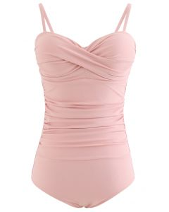 Ruched Design One-Piece Swimsuit in Pink