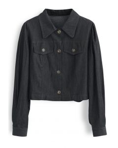 Buttoned Pleated Puff Sleeves Crop Denim Jacket in Smoke