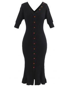 V-Neck Ruffle Button Trim Ribbed Knit Midi Dress in Black
