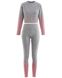 Striped Seamless Crop Top and Ankle-Length Leggings Set in Pink