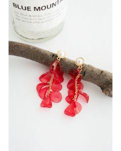 Pearl with Plastic Petal Drop Earrings in Red