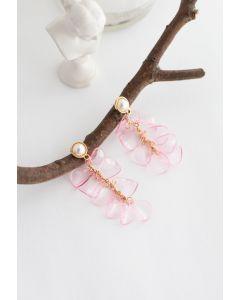 Pearl with Plastic Petal Drop Earrings in Pink
