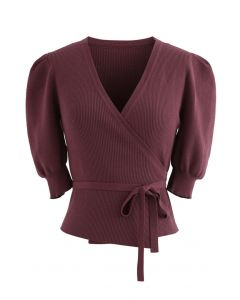 Bubble-Sleeve Wrapped Ribbed Knit Top in Wine