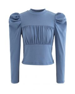 Bubble-Sleeve Shirred Fitted Top in Blue