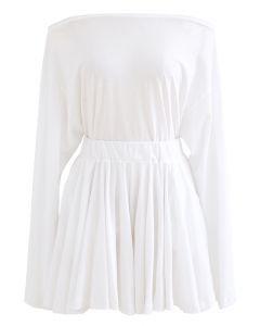 Oblique Shoulder Top and Pocket Shorts Set in White