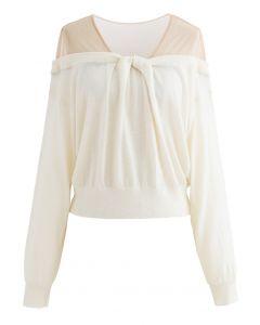Mesh Shoulder Drape Neck Knit Sweater in Cream