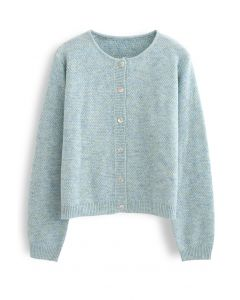 Button Placket Knit Cardigan in Turquoise