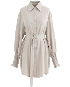Belted Button Down Hi-Lo Shirt Dress in Light Tan
