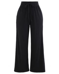 Cropped Wide-Leg Drawstring Knit Pants in Black