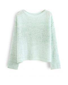 Variegated Open Knit Sweater in Mint