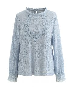 Floret Full Lace Long Sleeves Top in Blue