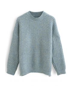 Fluffy Waffle-Knit Sweater in Dusty Blue