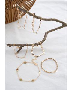 6 Packs Golden Star Moon Bracelets