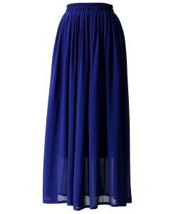 Blue Pleated Maxi Skirt