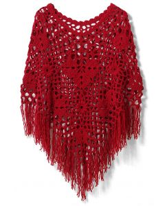 Delicate Hand-knit Fringe Cape in Red