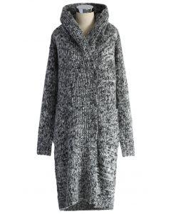 Chunky Knit Hooded Long Cardigan