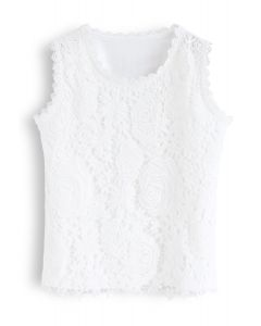 Lace Crochet Front Tank Top in White