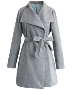 Urban Chic Belted Woolen Coat in Smoke