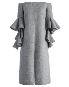 Classy Grey Twill Dress with Frilling Sleeves