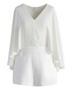 Show Your Charm White Playsuit with Cape Sleeves