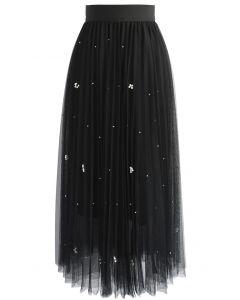 Falling Sparkle Tulle Skirt in Black