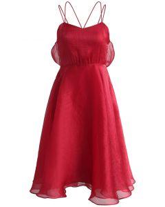 Luxurious Sheen Cross-strap Open Back Dress in Red