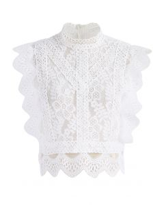 Your Sassy Start Sleeveless Crochet Lace Top in White