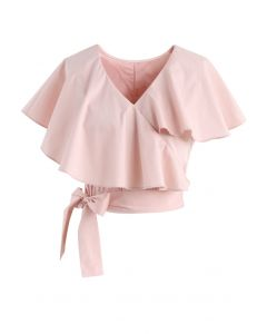 Appealing Sweet Frilling Crop Top in Pink