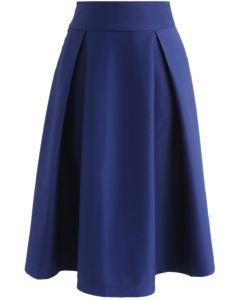Full A-Line Midi Skirt in Royal Blue