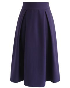 Full A-Line Midi Skirt in Purple